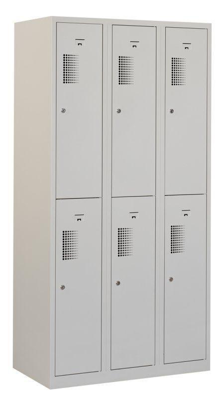Premium garderobekast 90cm breed, 3-koloms, 6-deurs