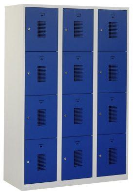 Premium locker 120cm breed, 3-koloms, 12-deurs