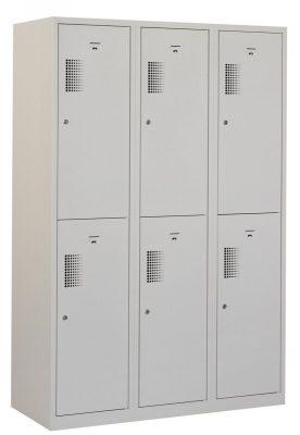 garderobekast 120cm breed, 3-koloms, 6-deurs