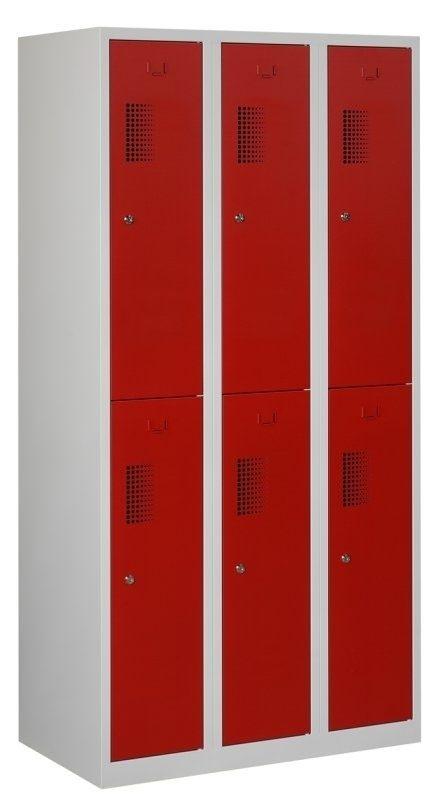 Premium garderobekast 90cm breed, 3-koloms, 6-deurs.