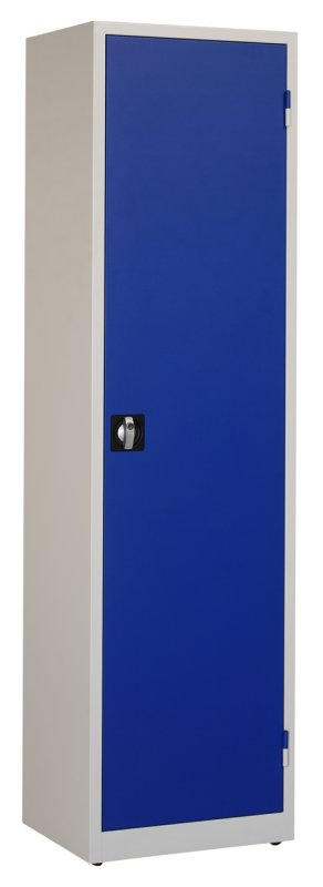 Werkplaatskast 195x53x45cm. blauw/grijs
