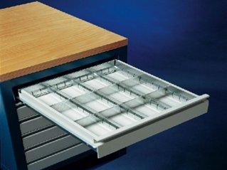 Metalen lade indeling voor lades hoogte 150mm. met 12 vakken