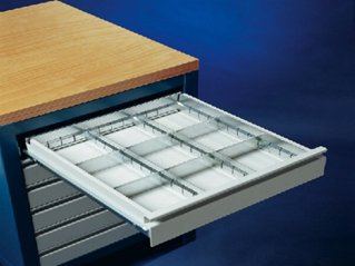 Metalen lade indeling voor lades hoogte 75mm. met 9 vakken