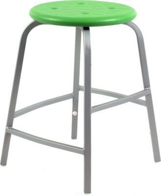 Krukje TAP50 zilvergrijs met groene PU zitting