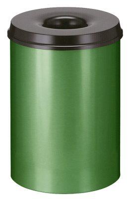 Vlamdovende afvalbak 30 liter groen/zwart