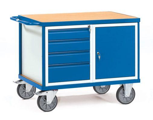 Werkplaatswagen met 1 deur en 4 laden