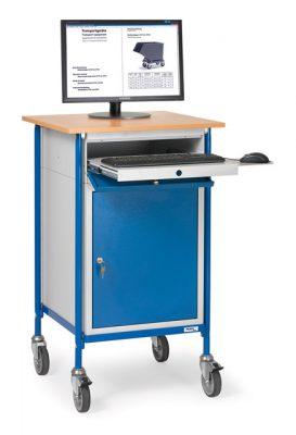 Mobiel werkstation met kast en toetsenbordlade