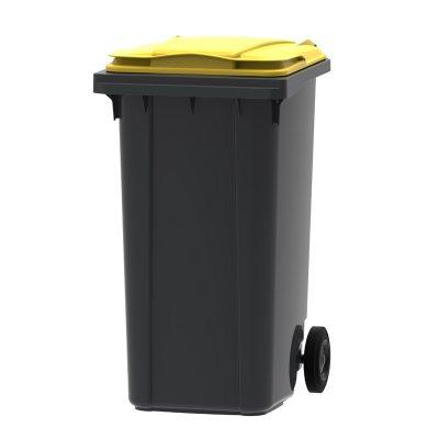 mini-container 240 liter kleur grijs/geel